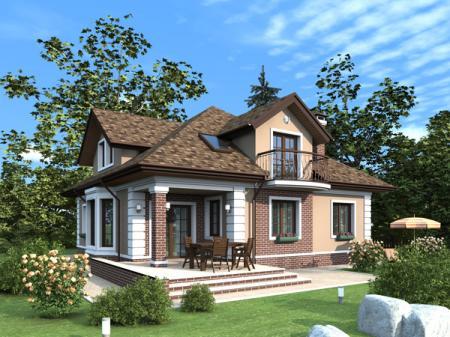 Проект загородного дома с мансардой в